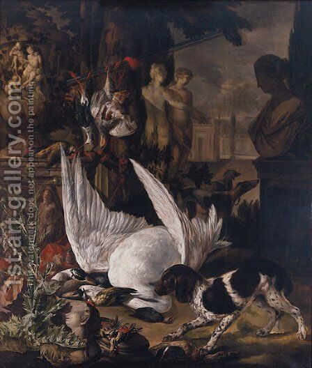 A spaniel guarding dead birds amongst garden statuary in a park landscape by (after) Jan Weenix - Reproduction Oil Painting