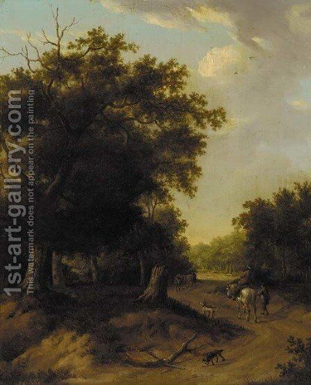 A horseman and other figures on a wooded path by (after) Jan Wijnants - Reproduction Oil Painting