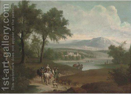 An extensive landscape with a hunting party on a track and fishermen by a lake, a country house beyond by (after) Jan Wyck - Reproduction Oil Painting