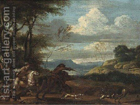 An extensive valley with a stag hunt by (after) Jan Wyck - Reproduction Oil Painting