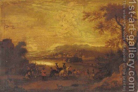 Cavalrymen approaching a riverside town by (after) Jan Wyck - Reproduction Oil Painting
