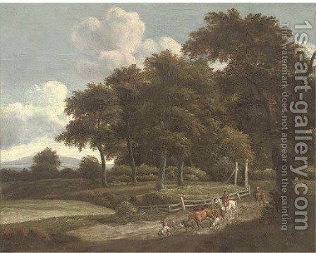 A wooded landscape with a drover and cattle on a track by (after) Jan Wynants - Reproduction Oil Painting