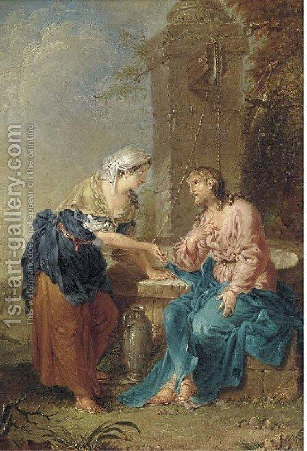 Christ and the Woman of Samaria by (after) Januarius Johann Rasso Zick - Reproduction Oil Painting