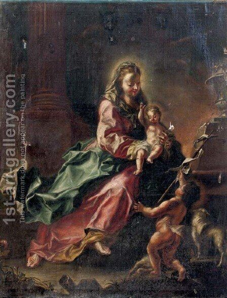The Madonna with the Christ Child and the Infant Saint John the Baptist in an architectural setting by (after) Januarius Zick - Reproduction Oil Painting