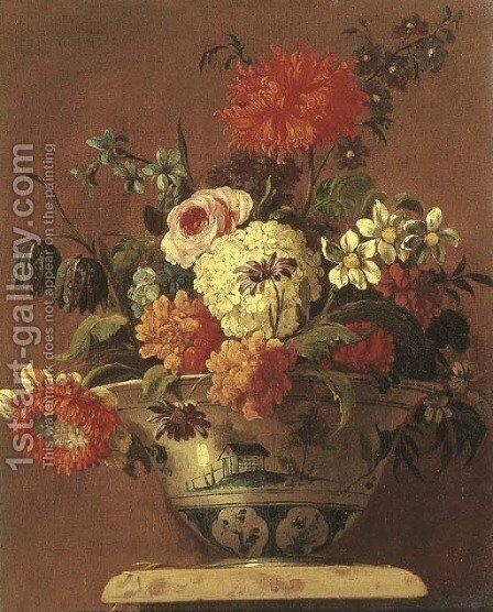 Carnations, daisies, a rose and other flowers in a chinoiserie bowl on a pedestal by (after) Jean-Baptiste Monnoyer - Reproduction Oil Painting