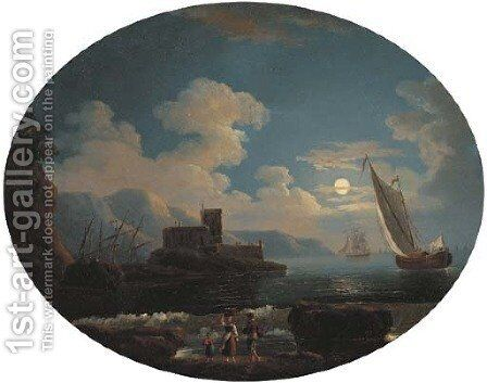 A Mediterranean coastal inlet with shipping by moonlight by (after) Jean-Baptiste Pillement - Reproduction Oil Painting