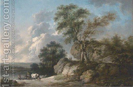 A rocky wooded river landscape with drovers and their cattle in the foreground by (after) Jean-Baptiste Pillement - Reproduction Oil Painting