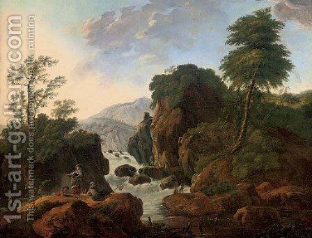 A wooded mountainous river landscape with anglers by a waterfall by (after) Jean-Baptiste Pillement - Reproduction Oil Painting