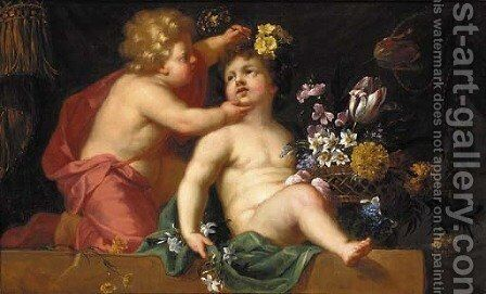 Putti playing with a basket of flowers on a ledge by (after) Jean-Baptiste Monnoyer - Reproduction Oil Painting