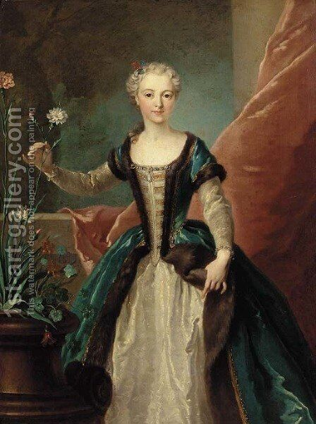 Portrait of a young lady by (after) Jean-Baptiste Oudry - Reproduction Oil Painting