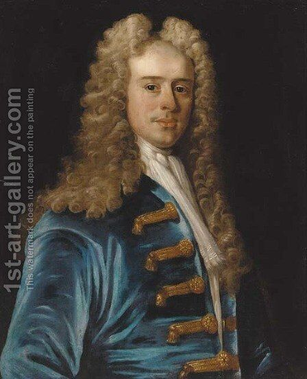 Portrait of a gentleman 2 by (after) Jean Baptiste Van Loo - Reproduction Oil Painting