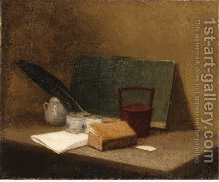 A Book by (after) Jean-Baptiste-Simeon Chardin - Reproduction Oil Painting