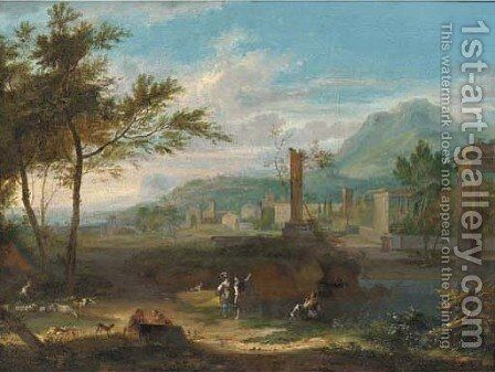 An Italianate landscape with classical ruins and figures in the foreground by (after) Jean-Francois Millet - Reproduction Oil Painting
