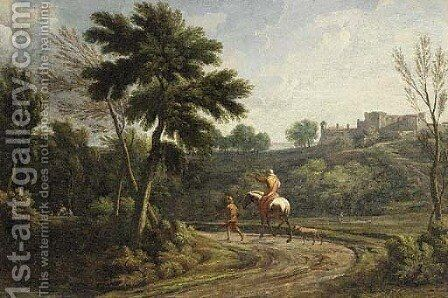 An Italianate landscape with figures on a wooded path by (after) Jean-Francois Millet - Reproduction Oil Painting