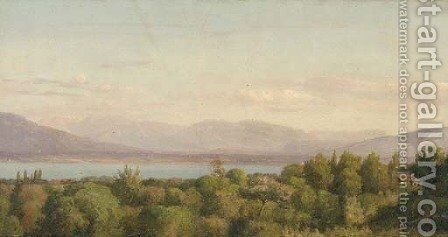 A view of Lake Geneva with the glaciers of Mont Blanc beyond by (after) Jean-Joseph-Xavier Bidauld - Reproduction Oil Painting