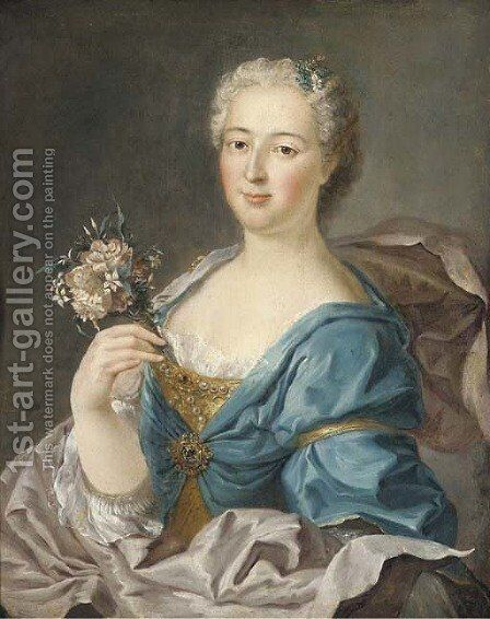 Portrait of Madame de Bourville by (after) Jean-Marc Nattier - Reproduction Oil Painting