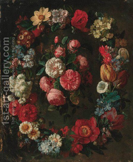 A swag of tulips, narcisi, convulvulus, corn flowers and other flowers surrounding a bunch of roses by (after) Jean Picart - Reproduction Oil Painting