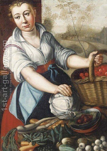 A vegetable seller by (after) Joachim Beuckelaer - Reproduction Oil Painting