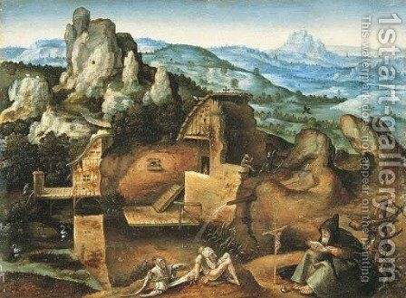 An extensive rocky landscape with the Temptation of Saint Anthony by (after) Joachim Patenier (Patinir) - Reproduction Oil Painting