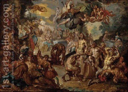 The Marriage of Peleus and Thetis by (after) Johan Georg Platzer - Reproduction Oil Painting