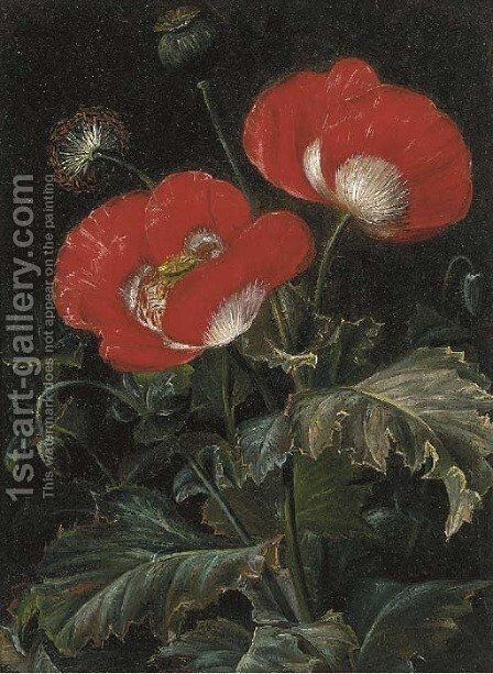 Poppies by (after) Johan Laurentz Jensen - Reproduction Oil Painting