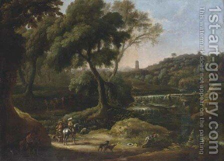An extensive landscape with a waterfall and figures shooting with dogs and horses by (after) Johann Anton Eismann - Reproduction Oil Painting
