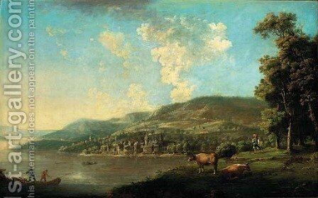 An open landscape with a drover and cattle by a lake, a town beyond by (after) Johann Christian Brand - Reproduction Oil Painting