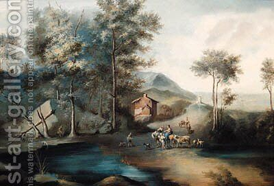 Figures by a Lake in a wooded Landscape by (after) Johann Christian Brand - Reproduction Oil Painting
