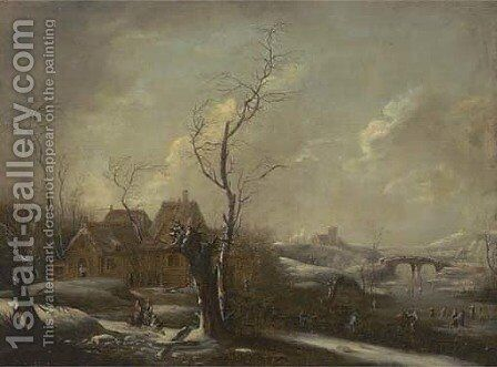 A winter landscape with skaters on a frozen river, a village nearby by (after) Johann Christian Vollerdt Or Vollaert - Reproduction Oil Painting