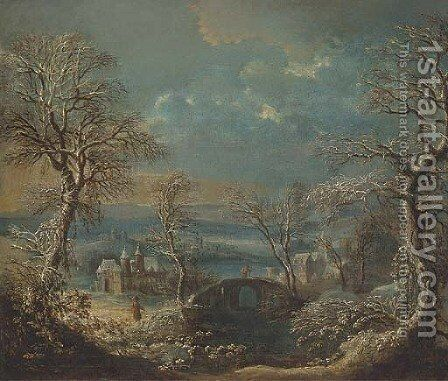 A wooded river landscape in winter with travellers by (after) Johann Christian Vollerdt Or Vollaert - Reproduction Oil Painting