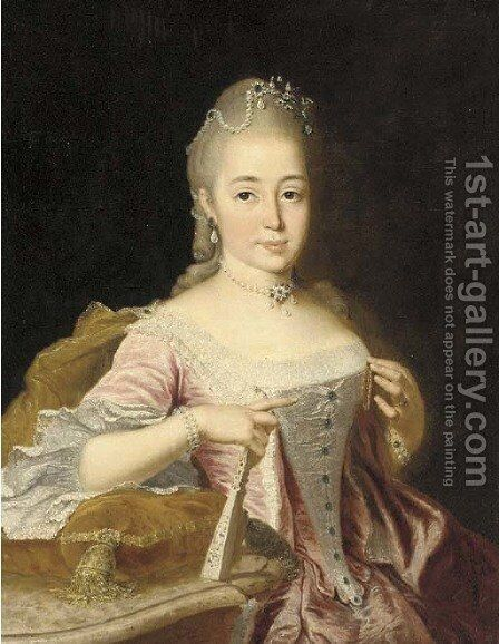 Portrait of a lady by (after) Johann Georg Ziesenis - Reproduction Oil Painting