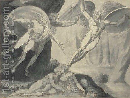 Satan starting from the touch of Ithuriel's spear by (after) Fuseli, Henry (Fussli, Johann Heinrich) - Reproduction Oil Painting