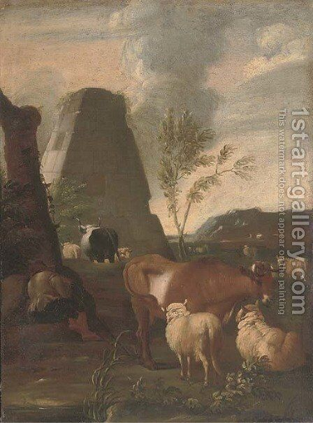 A drover resting by his cattle, a pyramid beyond by (after) Johann Heinrich Roos - Reproduction Oil Painting