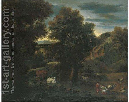 A wooded landscape with a shepherdess and cattle by (after) Johann Heinrich Roos - Reproduction Oil Painting
