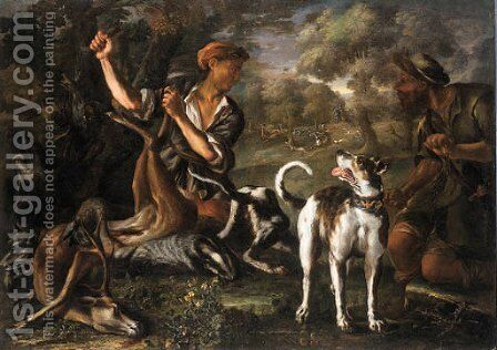 .A Stag Hunt by (after) Johann Heinrich Roos - Reproduction Oil Painting