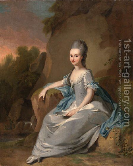 Portrait of a ladyfull-length, in a silver dress and a blue shawl by (after) Johann Heinrich The Elder Tischbein - Reproduction Oil Painting