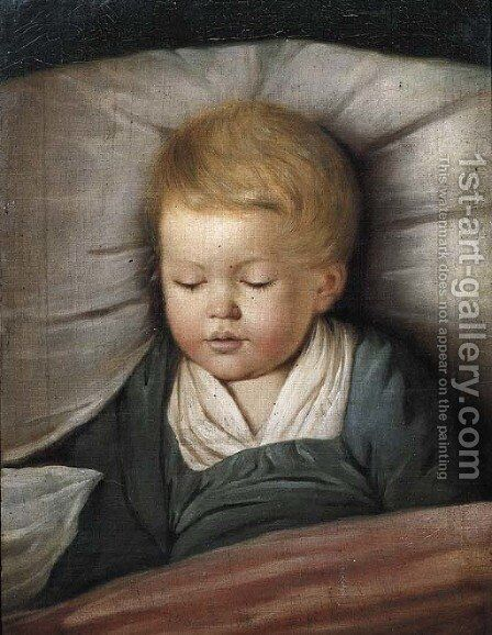 A young boy asleep by (after) Johann Heinrich The Younger Tischbein - Reproduction Oil Painting