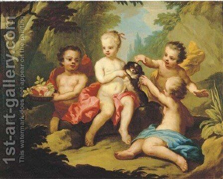 Putti and a pet dog disporting in a garden by (after) Johann Heinrich Wilhelm Tischbein I - Reproduction Oil Painting