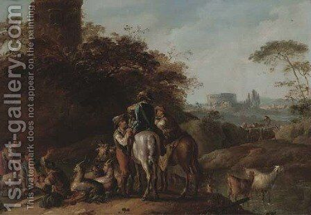 An Italianate landscape with travellers resting with herdsmen by a tower by (after) Joseph Conrad Seekatz - Reproduction Oil Painting