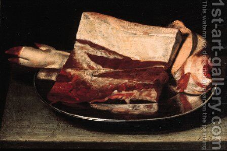 A leg of pork and a slice of meat on a pewter plate on a table by (after) Johann Michael Hambach - Reproduction Oil Painting