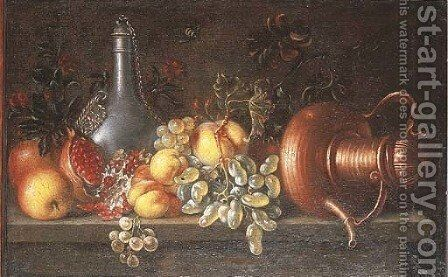 An upturned copper teapot, a pewter flagon and fruit on a ledge by (after) Johannes Bouman - Reproduction Oil Painting