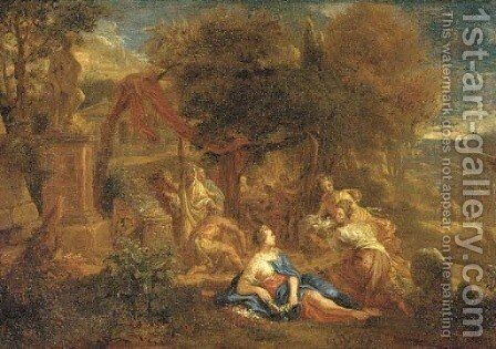 A classical landscape with an altar, a banquet and maidens with flowers and doves in the foreground by (after) Johannes (Polidoro) Glauber - Reproduction Oil Painting