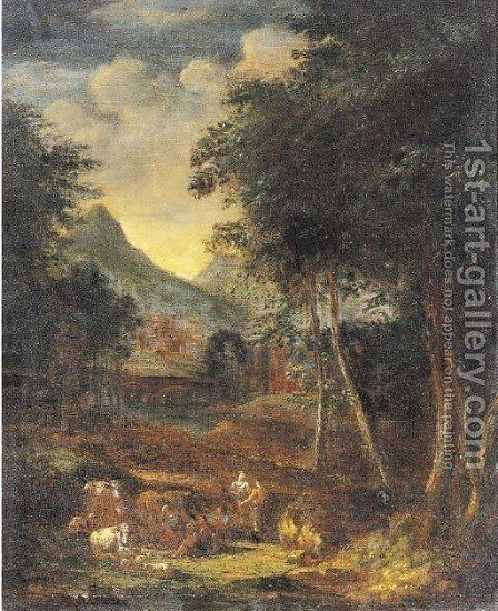 A wooded river landscape with figures and cattle in the foreground, a town beyond by (after) Johannes (Polidoro) Glauber - Reproduction Oil Painting