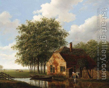 A Woman and Child outside a Cottage, Cattle grazing in a Meadow beyond by (after) Johannes Janson - Reproduction Oil Painting