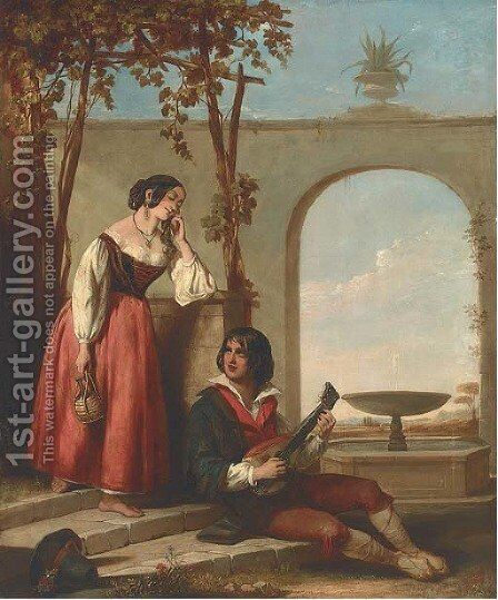 The serenade by (after) John Bagnold Burgess - Reproduction Oil Painting