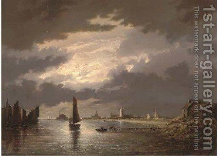 Great Yarmouth by moonlight by (after) John Berney Crome - Reproduction Oil Painting
