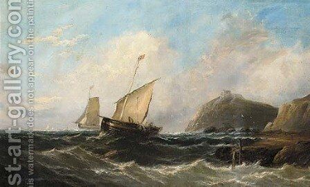 Fishermen hauling in their nets off a rocky headline with a ruined castle by (after) John Callow - Reproduction Oil Painting