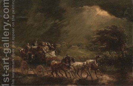 A stage coach and four on a stormy night, a country house beyond by (after) John Charles Maggs - Reproduction Oil Painting