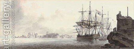 Dutch warships lying in an exotic harbour by (after) John The Younger Cleveley - Reproduction Oil Painting
