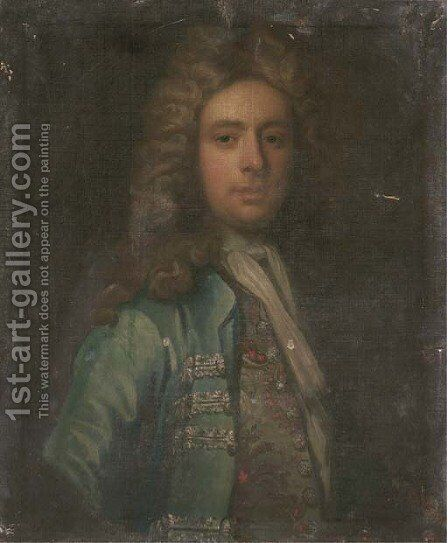 Portrait of a gentleman, bust-length, in a blue coat and embroidered waistcoat by (attr.to) Closterman, Johann - Reproduction Oil Painting